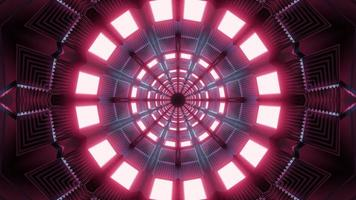 Ilustración 3d de caleidoscopio de formas y luces rojas y azules para fondo o papel tapiz foto