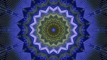 Blue and green lights and shapes kaleidoscope 3d illustration for background or walllpaper photo