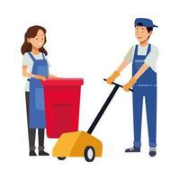 housekeeping workers with waste bin and floor shiner vector