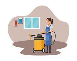 trabajadora de limpieza con aspiradora vector