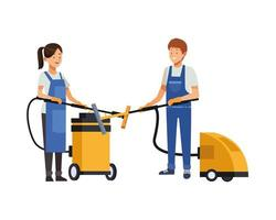 housekeeping workers with vacuum cleaners vector