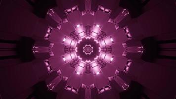 Ilustración 3d de caleidoscopio de formas y luces púrpuras y blancas para fondo o papel tapiz foto