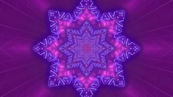 Ilustración 3d de caleidoscopio de formas y luces púrpuras, azules y blancas para fondo o papel tapiz foto