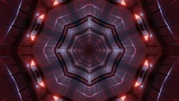 Ilustración 3d de caleidoscopio de formas y luces naranjas, rojas y grises para fondo o papel tapiz foto