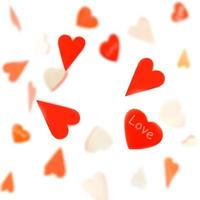 Hearts on a string on a white background