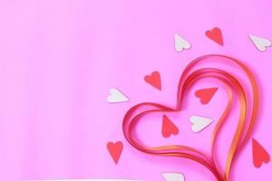 Ribbon and paper hearts photo