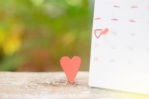 corazón en el calendario para el día de san valentín