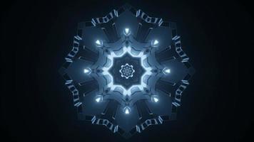 Ilustración 3d de caleidoscopio de formas y luces azules, grises y blancas para fondo o papel tapiz foto