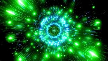 Green and blue light and shapes kaleidoscope 3d illustration for background or wallpaper