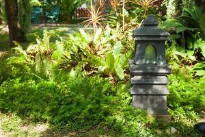 Decorated stone lantern in the garden