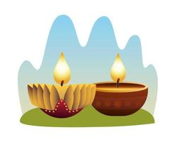 hindu golden candles gold in wooden holders vector