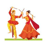 personajes de bailarina navratri tradicional vector