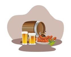 wooden beer barrel with mugs and sausages vector