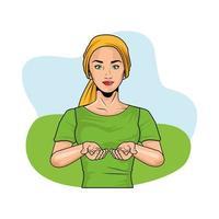 Mujer haciendo autoexamen de mama y con pañuelo en la cabeza, estilo pop art vector