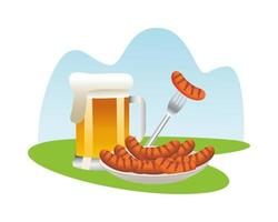 beer mug with sausages in dish vector