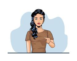 cute young woman pop art style vector