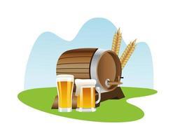 wooden beer keg with beer mugs vector