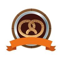 pretzel pastry food and ribbon frame vector