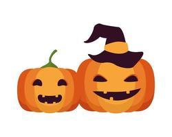 halloween jack o'lanterns witch hat vector