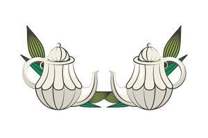teteras de cerámica con plantas de hojas vector