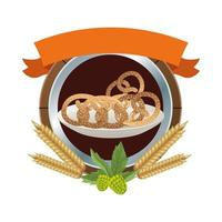 dish with pretzels with ribbon frame vector