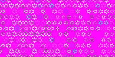 textura de vector rosa claro, azul con símbolos de enfermedades.