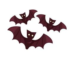 flying halloween bats isolated icon vector