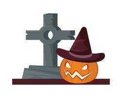 halloween pumpkin wearing witch hat in graveyard