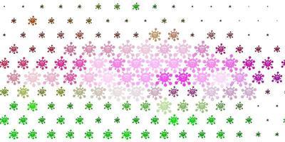 Fondo de vector rosa claro, verde con símbolos covid-19.