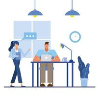 Flat design people in the office vector