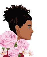 flores rosas con mujer negra de perfil vector