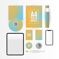 Modern stationery and gadget mock-up template vector