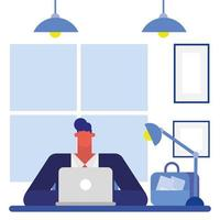 Flat design man working in the office vector