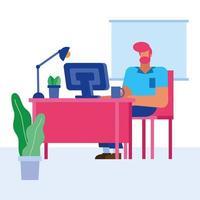 hombre de diseño plano trabajando en la oficina vector