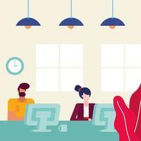 empresarios de diseño plano en la oficina vector