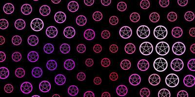 Dark Purple, Pink vector template with esoteric signs.