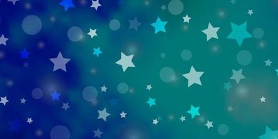 Light Blue, Green vector pattern with circles, stars.