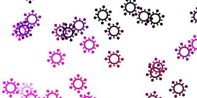 Light purple, pink vector pattern with coronavirus elements.