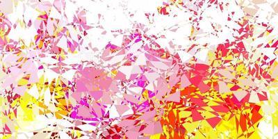 patrón de vector rosa claro, amarillo con formas poligonales.