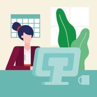 mujer de diseño plano trabajando en la oficina vector