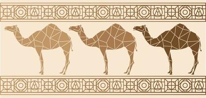 Background with camels Ethnic pattern vector