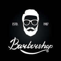 Hand draw lettering barbershop and mustache mans ilhouette vector
