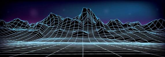 Abstract wireframe landscape background. vector