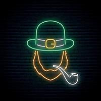 Irishman with smoking pipe neon sign