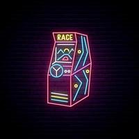 Race Arcade Game machine neon sign vector