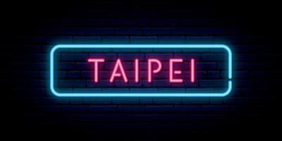 Taipei neon sign vector