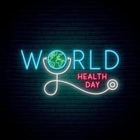 World Health Day neon signboard
