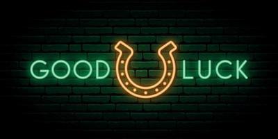 Horseshoe neon sign. Shiny horseshoe and text Good luck. Neon signboard. vector