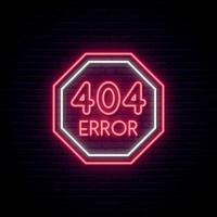 Signo de neón de error 404. Señal de advertencia de color rojo brillante sobre fondo de pared de ladrillo oscuro. página de error no encontrada concepto letrero de neón. vector