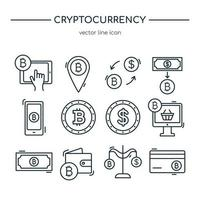 Cryptocurrency line icon collection. Vector icon set.